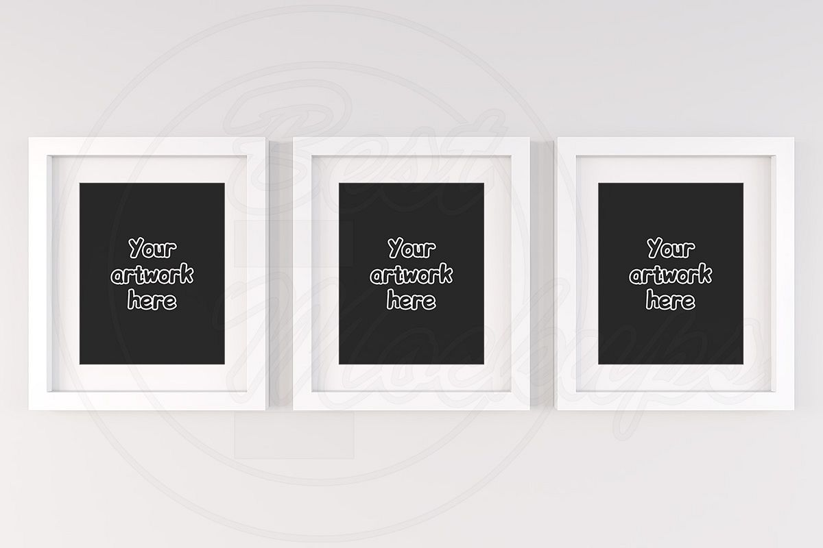 Set mockup white frame printable jpg example image 1