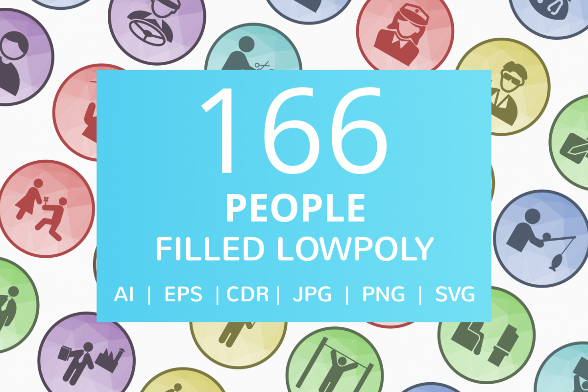166 People Filled Low Poly Icons example image 1
