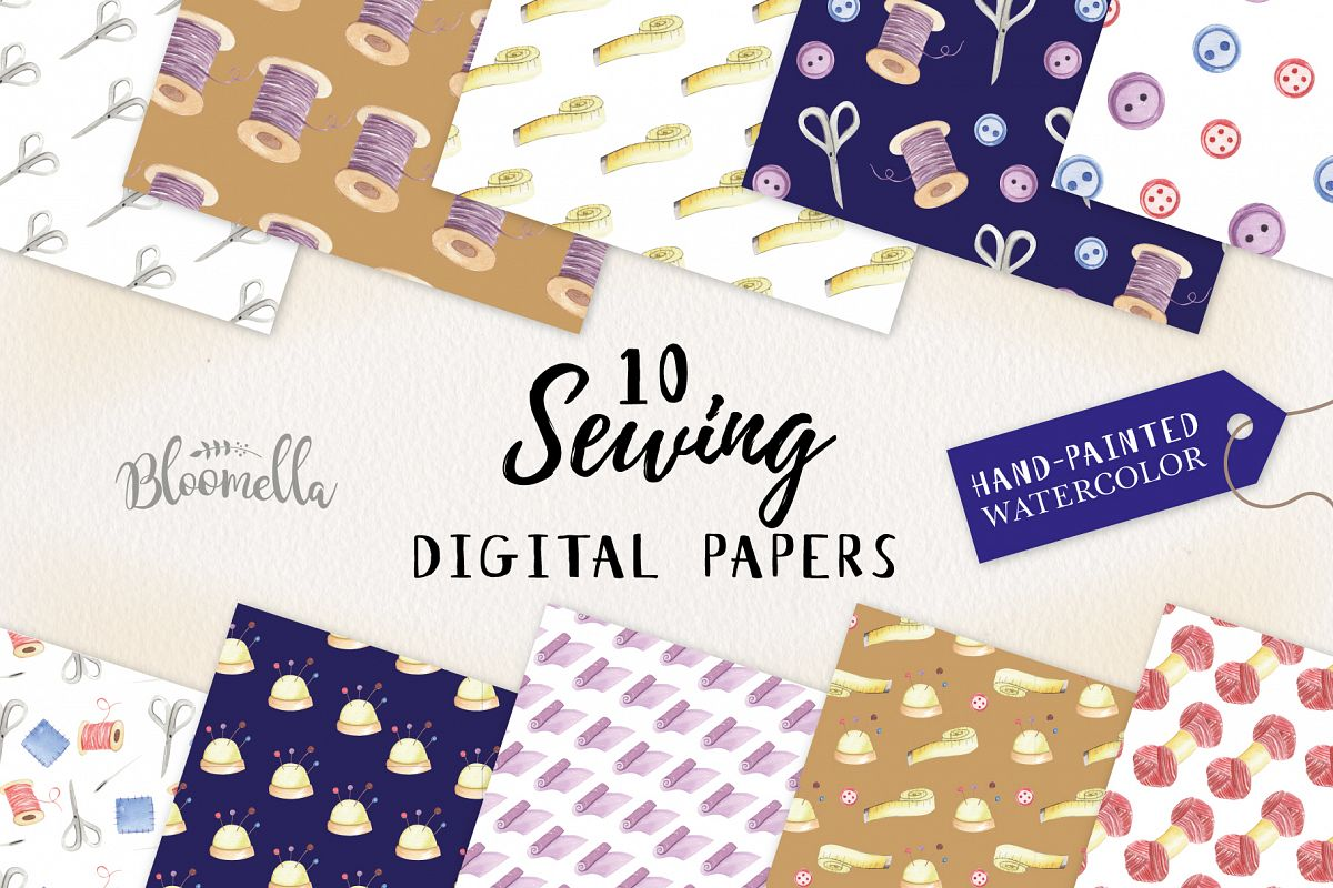 Sewing Seamless Patterns Digital Papers Stitch Button Sew example image 1