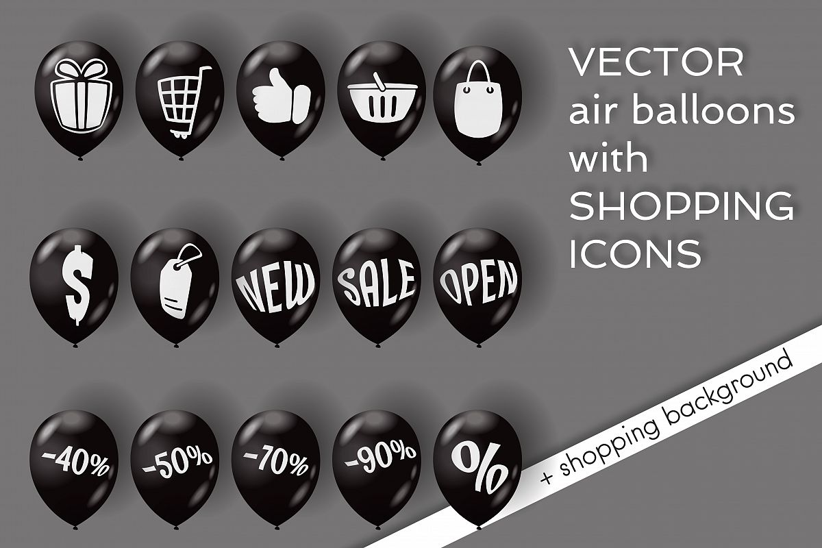 Shopping icons on air balloons. example image 1
