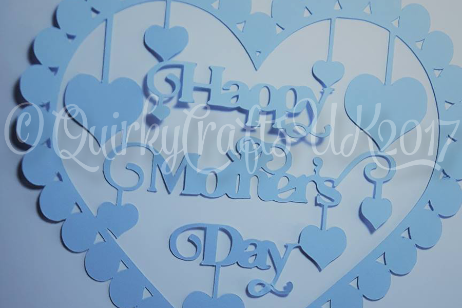 Happy Mother's Day with hearts papercutting template example image 1