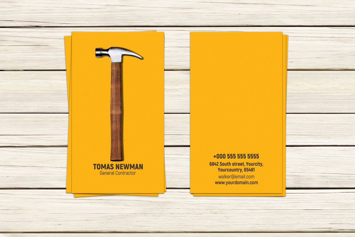 Contractor Builder Business Card example image 1