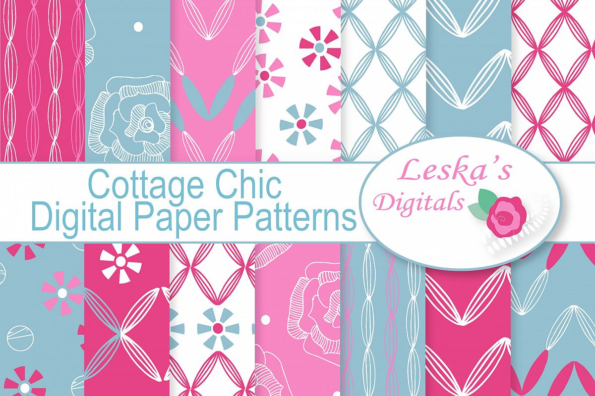 Cottage Chic Digital Paper  example image 1