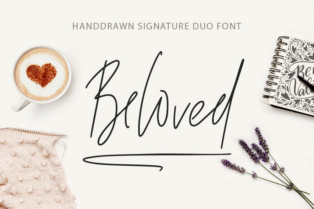 Beloved signature duo font. example image 1