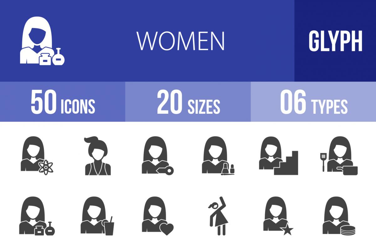 50 Women Glyph Icons example image 1