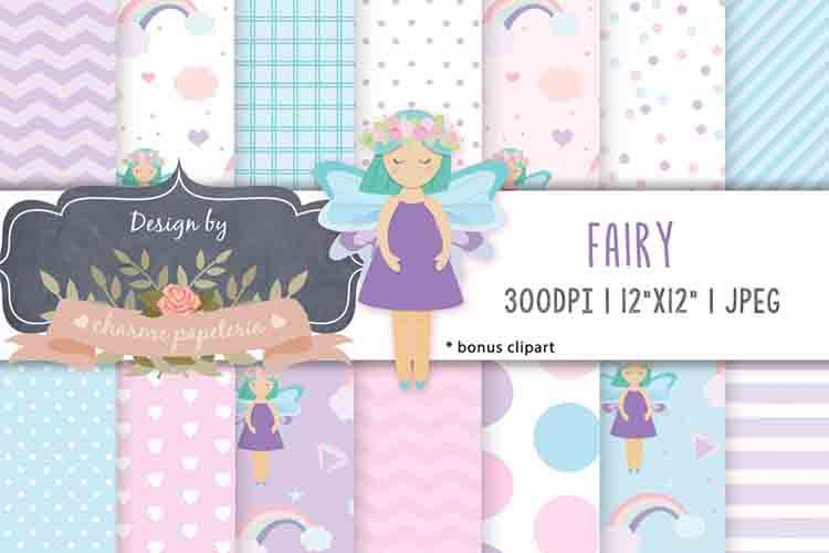 Fairy digital papers, rainbow, chevron paper, magical paper example image 1
