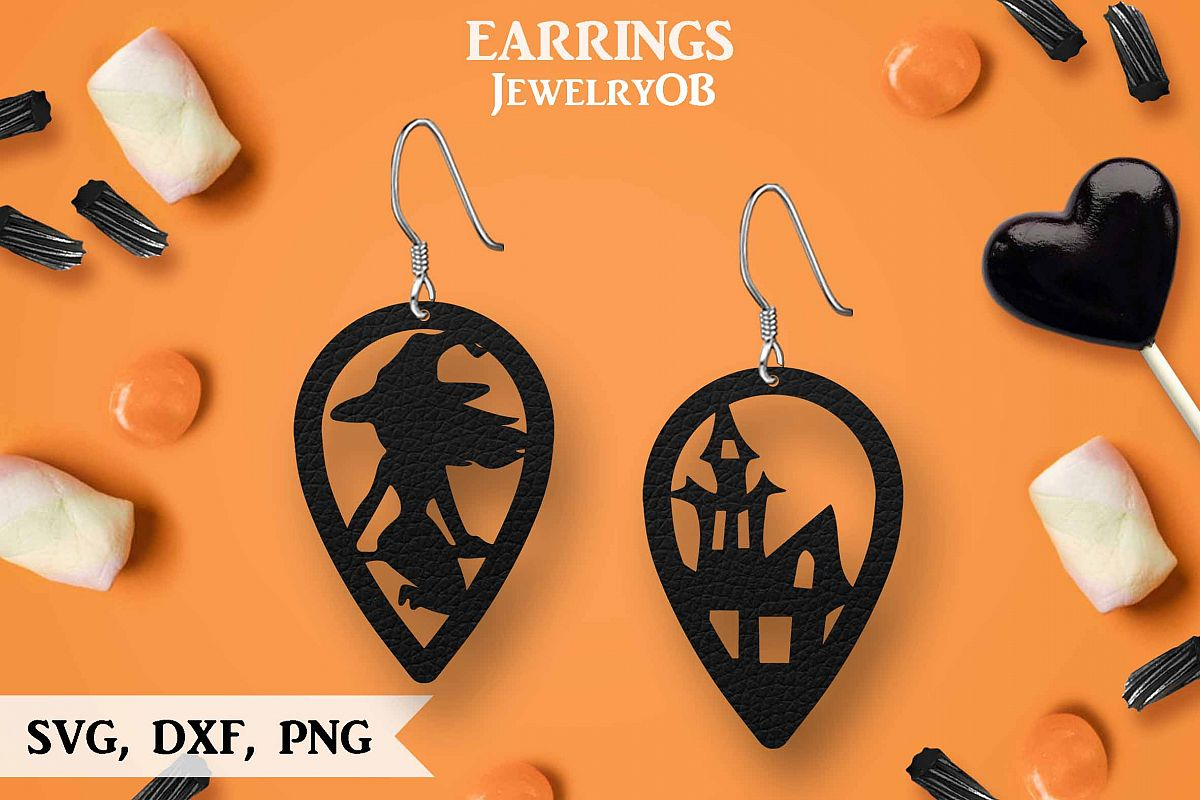 Halloween Earrings, Cut File, SVG DXF PNG Formats, Witch Hat example image 1