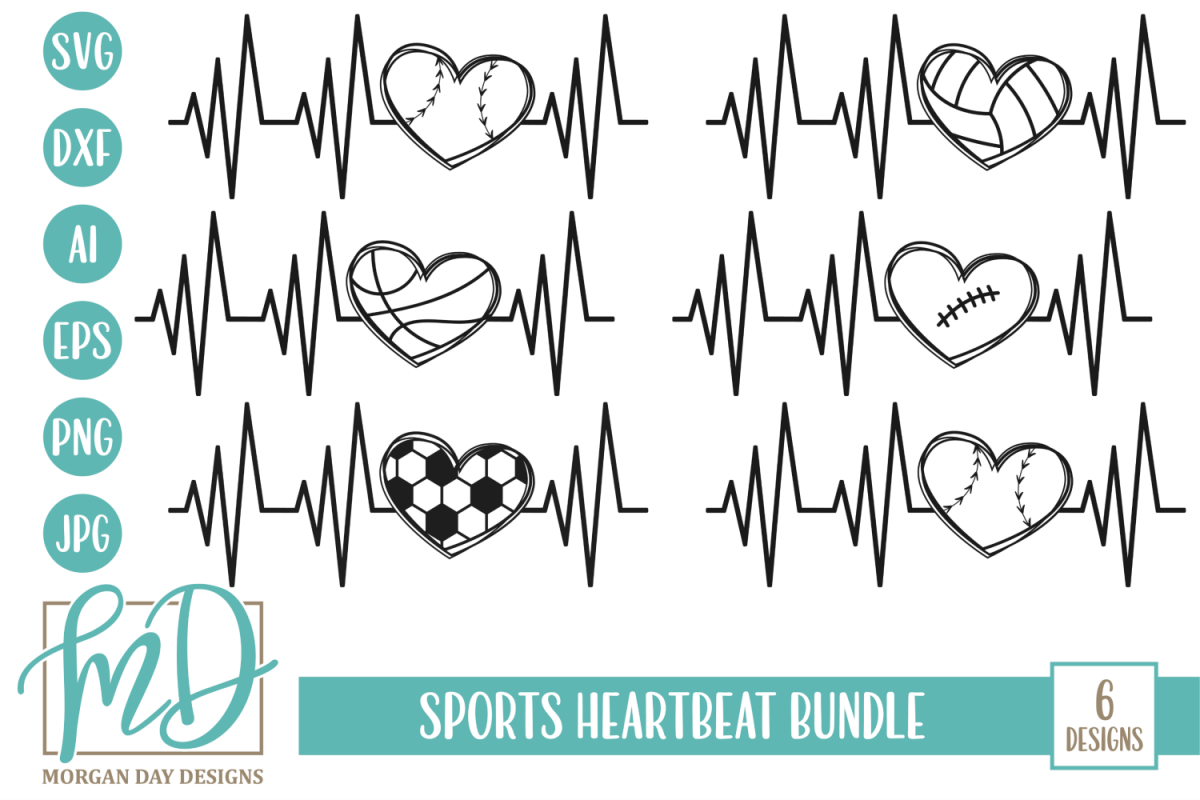 Sports Heartbeat Bundle SVG, DXF, AI, EPS, PNG, JPEG example image 1