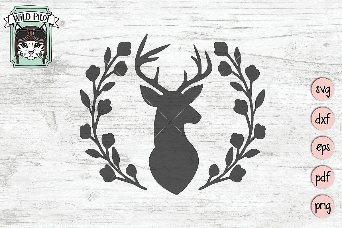 Deer Head SVG file, Deer Head cut file, Deer Silhouette example image 1