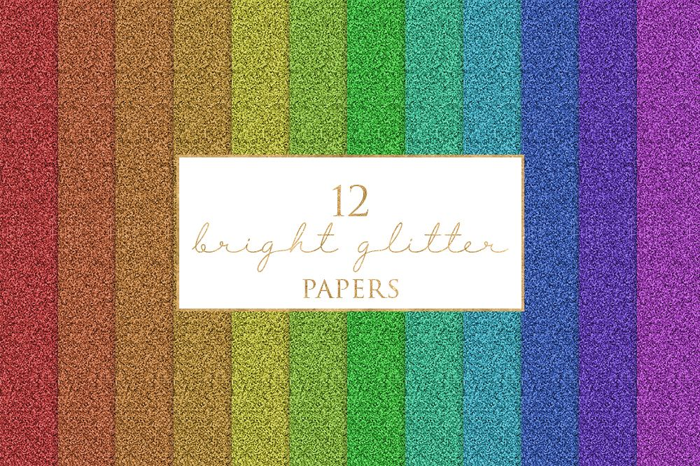12 Bright Glitter Textures Digital Paper Pack example image 1