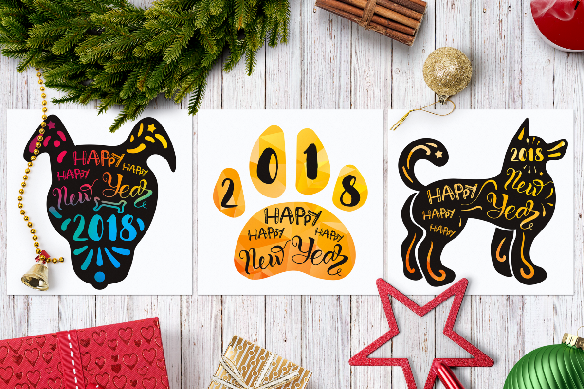 Happy New 2018 Year With Dog example image 1