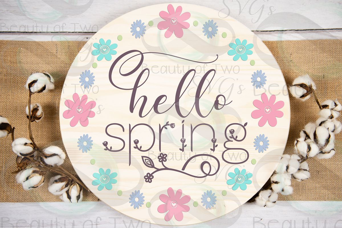 Hello Spring Wreath svg, Spring Flowers svg, Spring svg example image 1