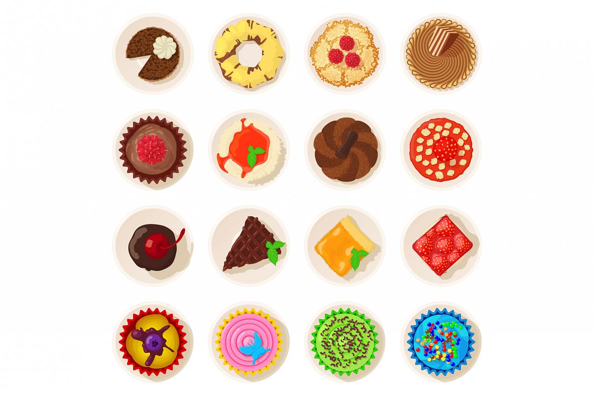 Dessert top view detailed icons set, cartoon style example image 1