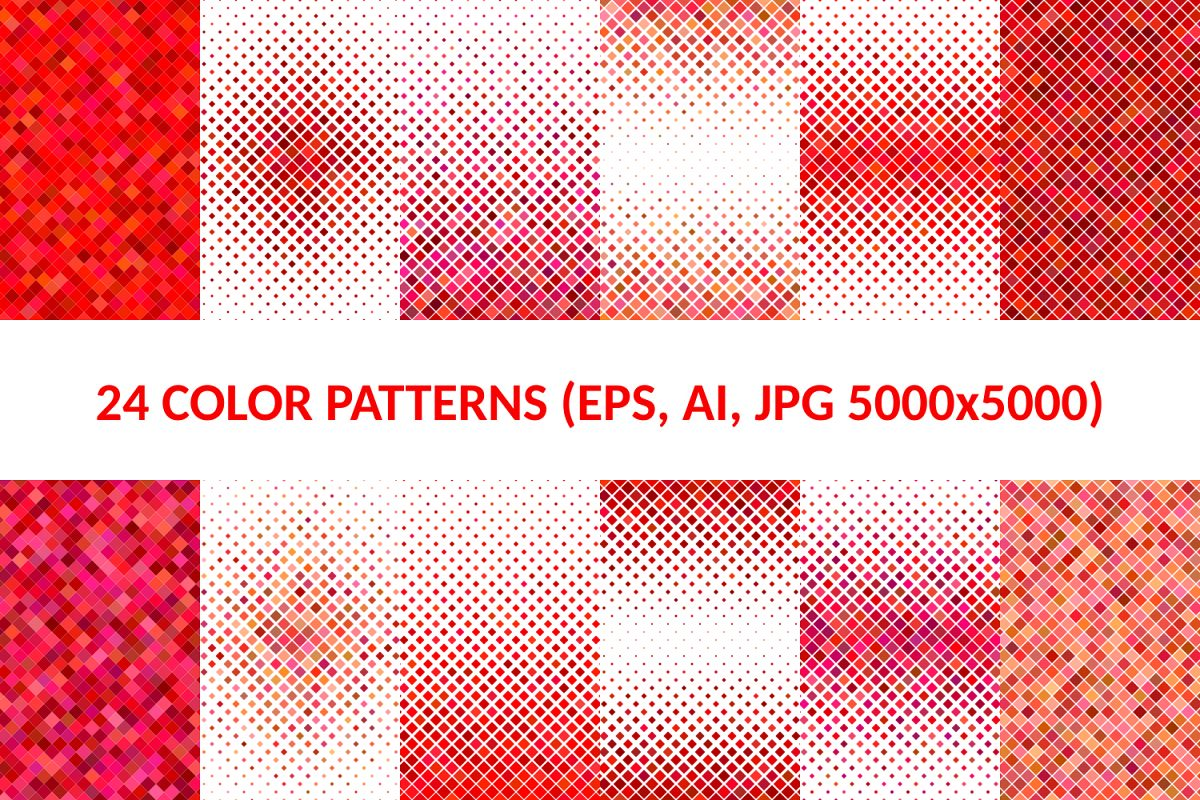 24 Red Square Patterns (AI, EPS, JPG 5000x5000) example image 1