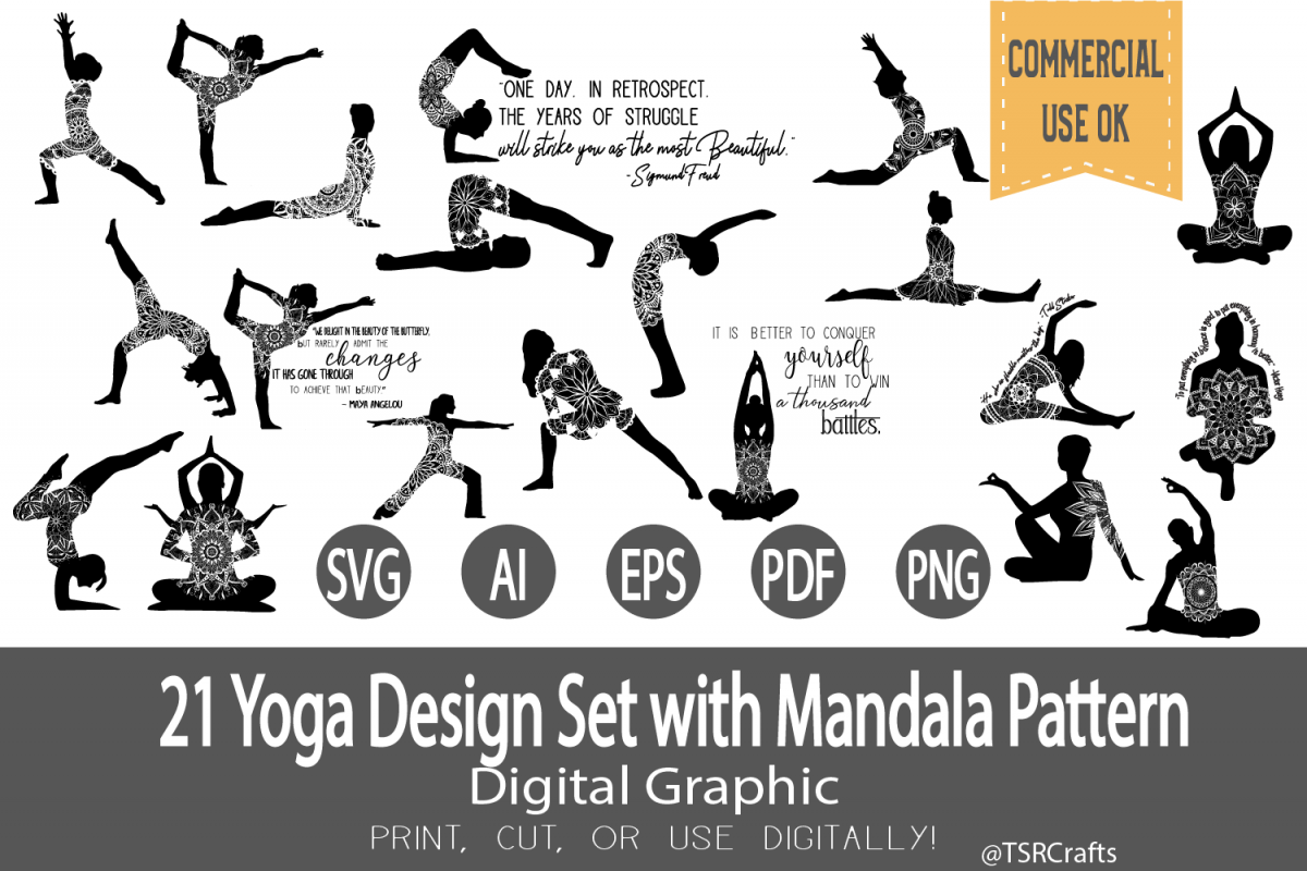 SVG Bundle -Yoga designs with Mandala Pattern example image 1