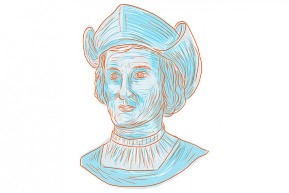 Christopher Colombus Explorer Bust Drawing example image 1