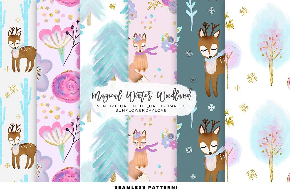 winter woodland digital paper example image 1