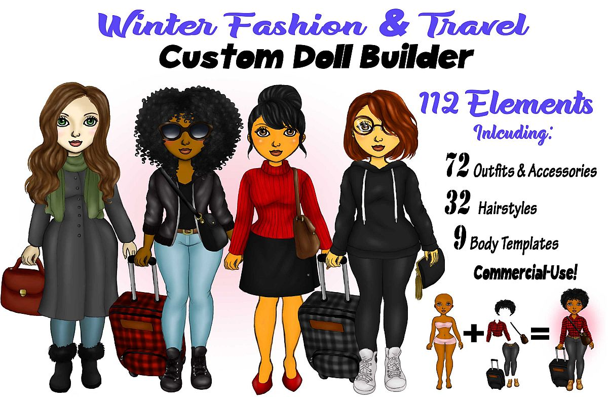 Winter Fashion &Travel Clipart DIY Customizable Paper Dolls example image 1