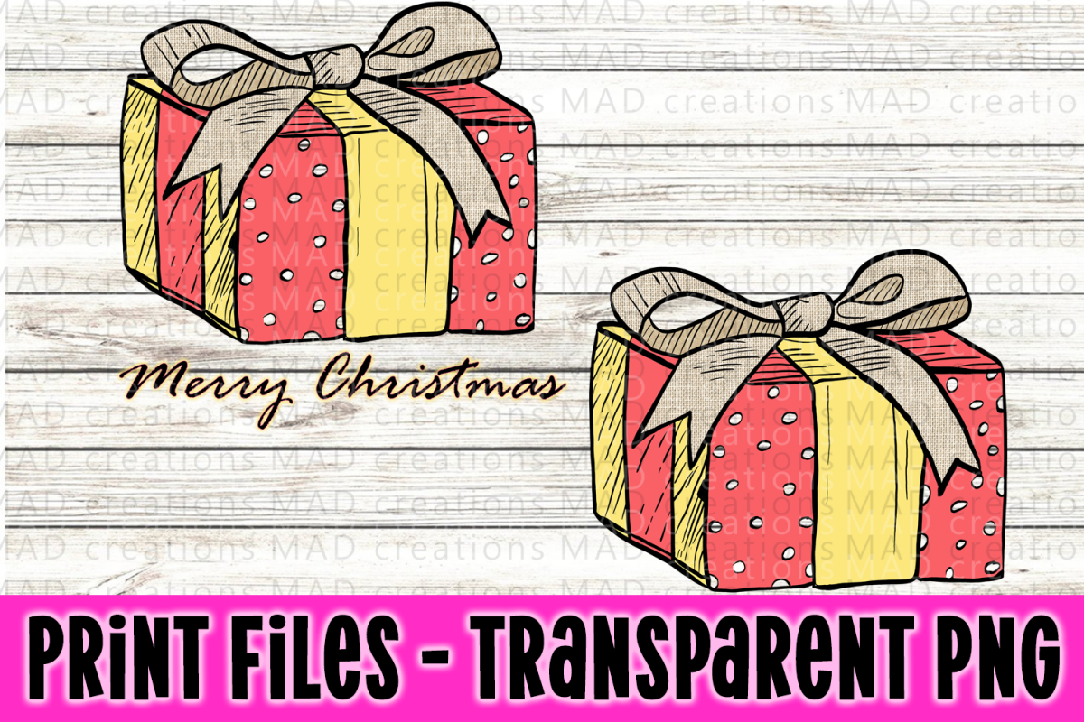 Christmas Present - Rustic Pink and Yellow - Print File example image 1