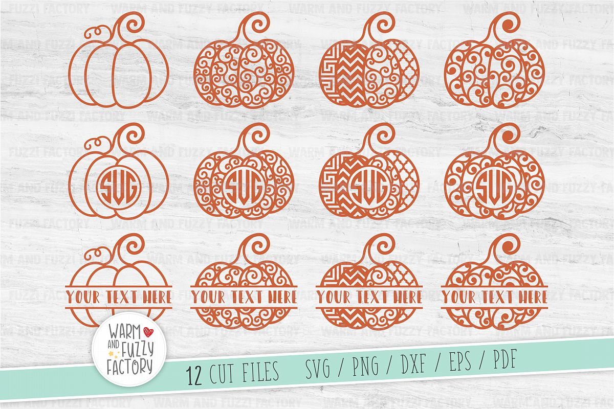 Pumpkin svg, Pumpkin monogram svg, Swirly pumpkin, Fall svg example image 1