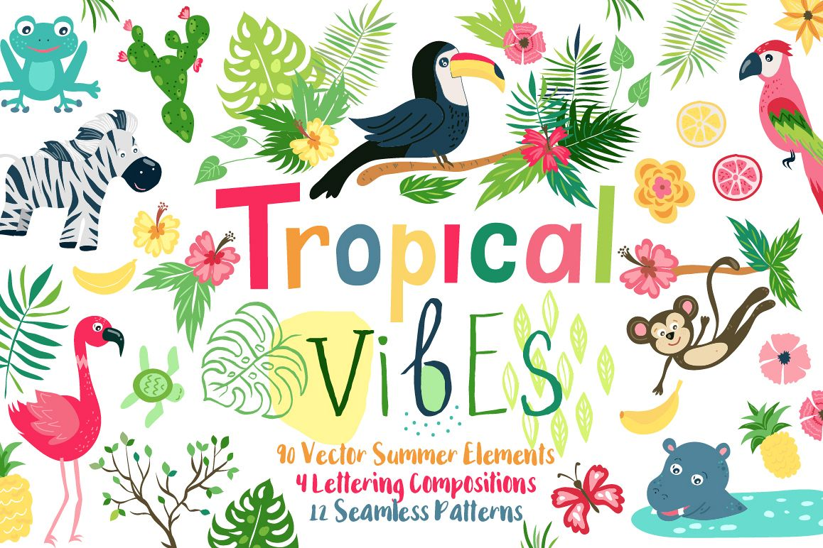 Summer Tropical Cute Vector Pack example image 1