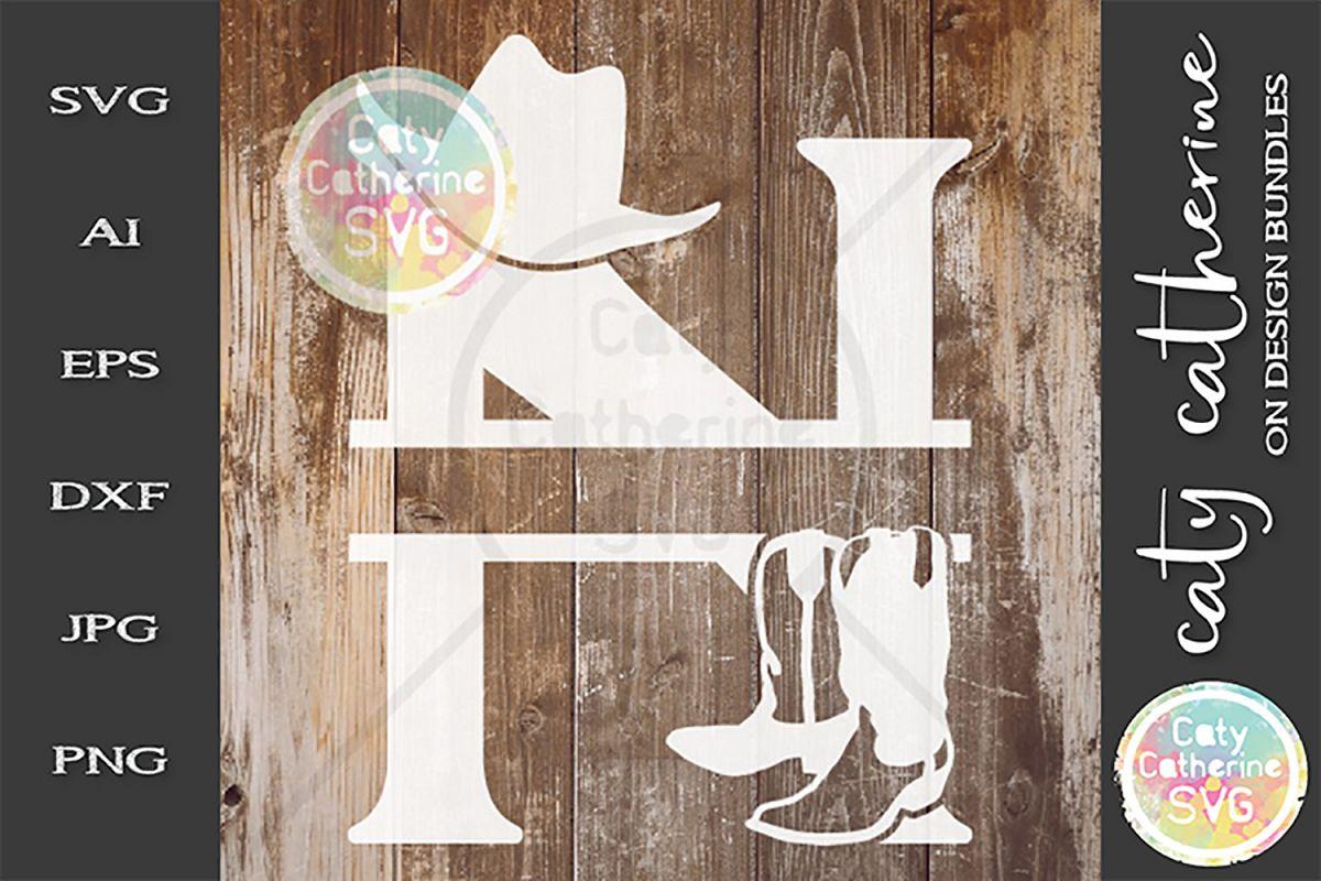 Letter N Cowboy Monogram SVG Includes Cowboy Boots example image 1