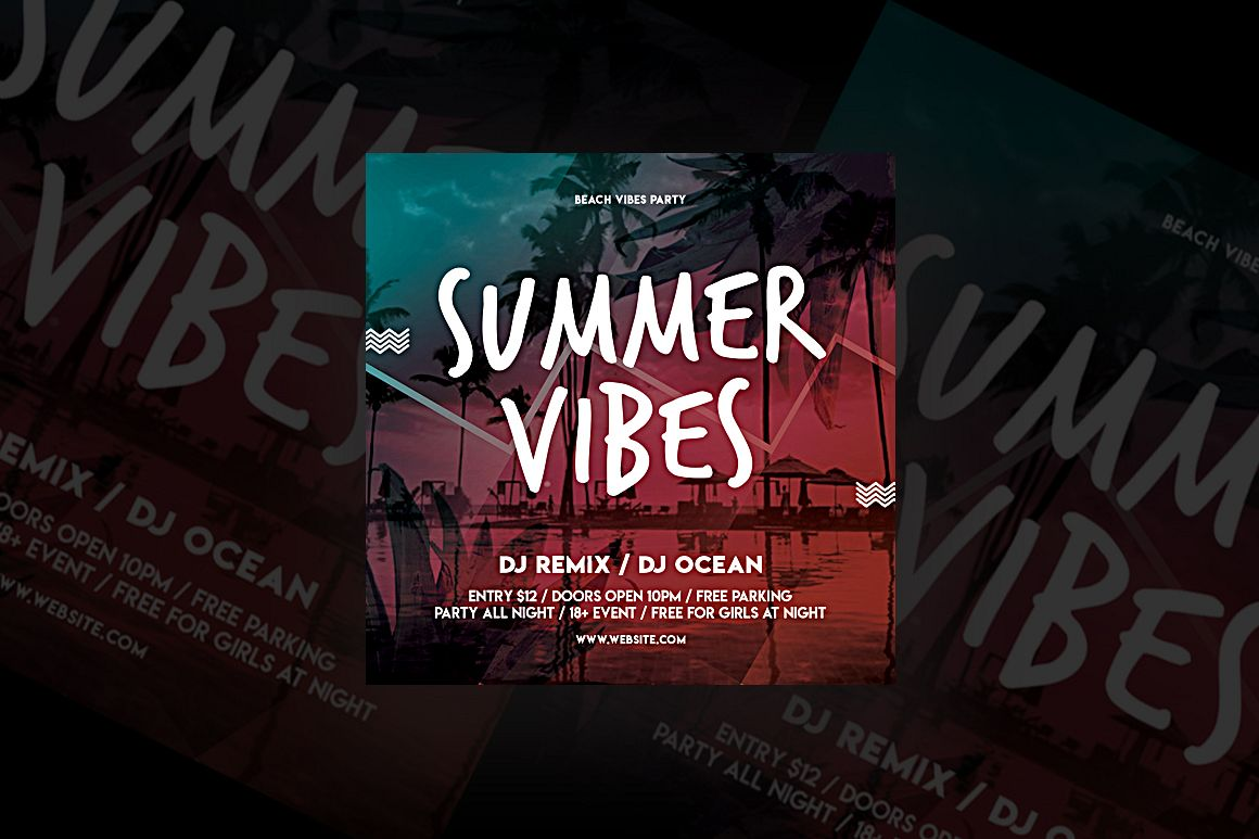 Summer Vibes Party Flyer example image 1