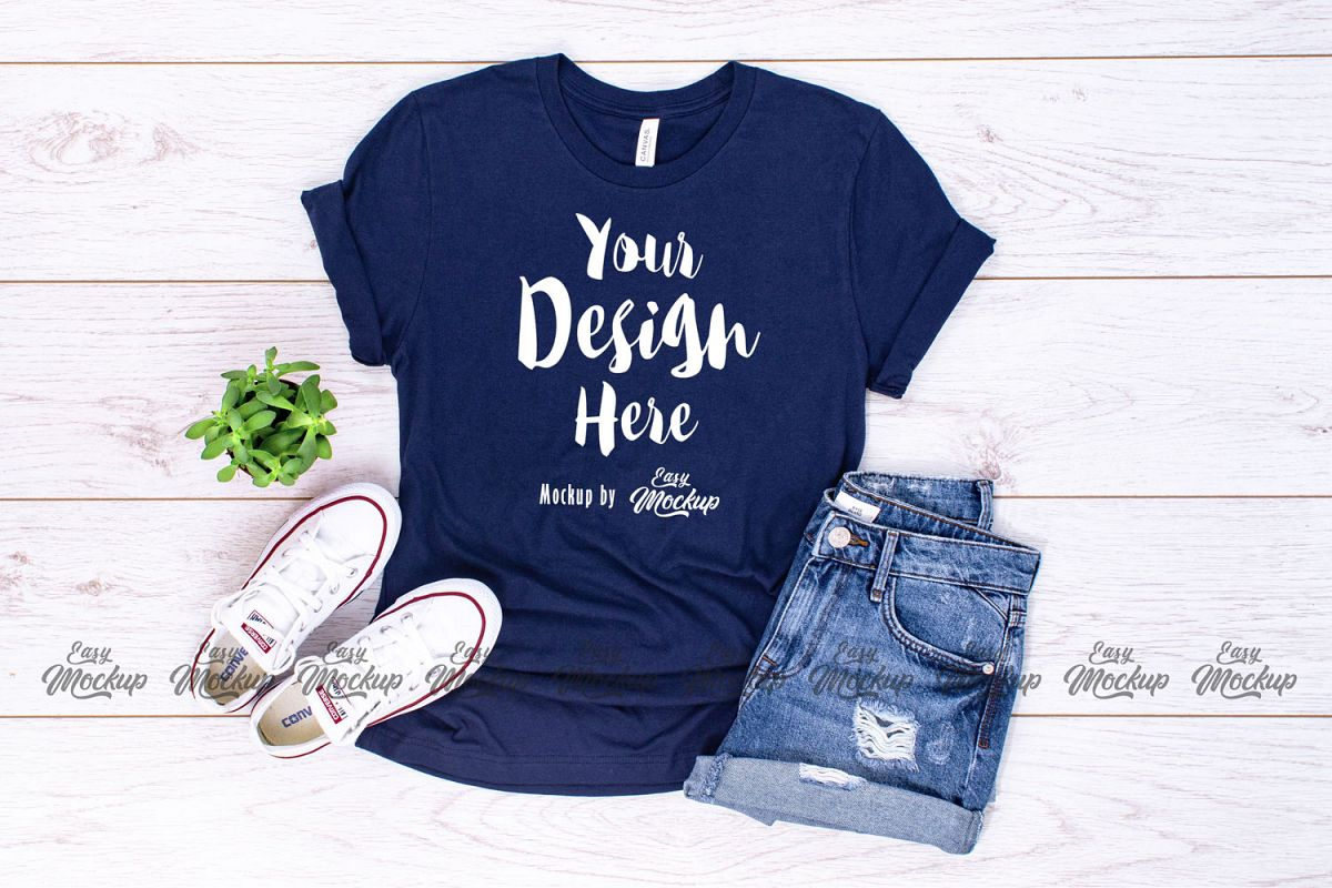 005d2d40d Navy Bella Canvas 3001 T Shirt Mockup example image 1
