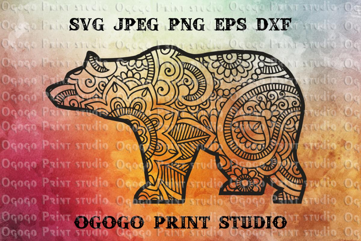 Bear svg, Zentangle SVG, Mandala svg, Mom Bear svg, Mom Bear example image 1