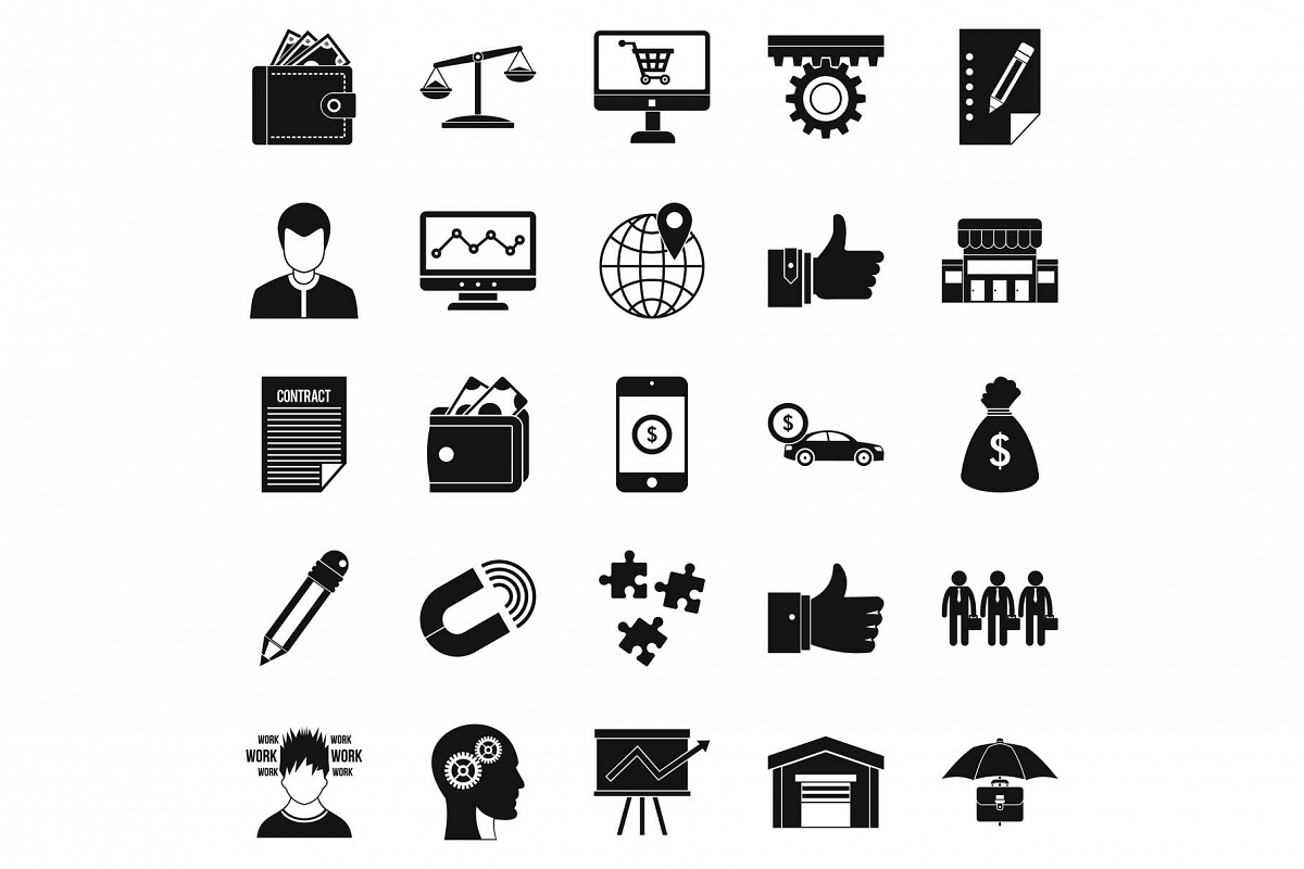 Business start up icons set, simple style example image 1