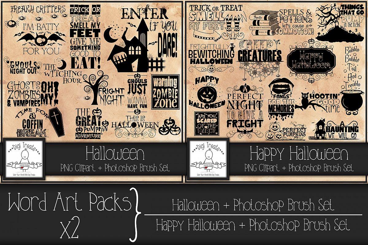 Word Art Packs x 2. Halloween and Happy Halloween. example image 1