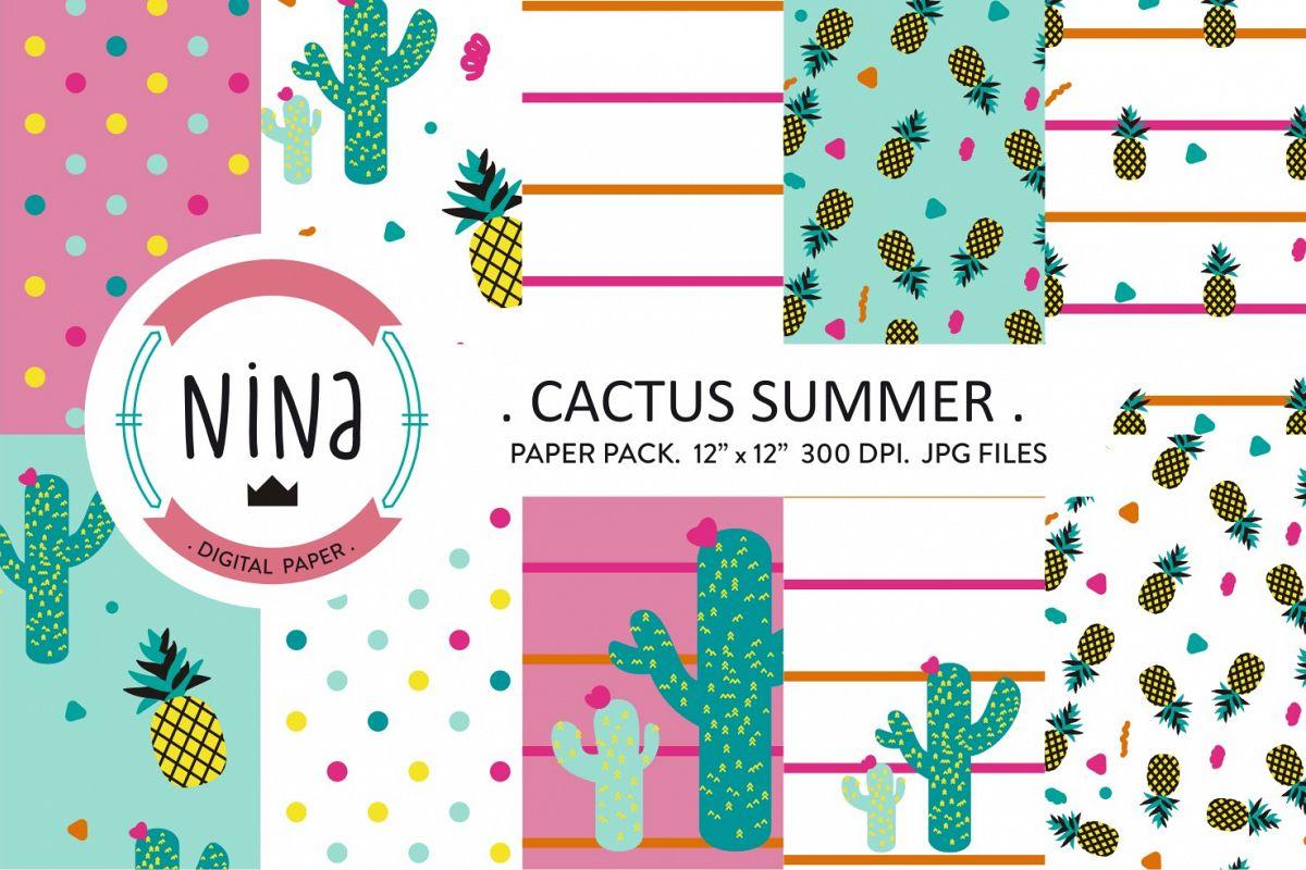 Cactus digital paper, pineapple printable paper, cute cactus example image 1
