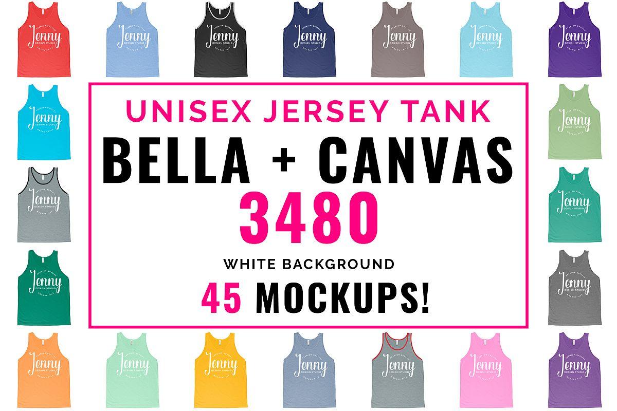 Bella Canvas 3480 Mockup Bundle, Unisex Tank Top Mockup example image 1