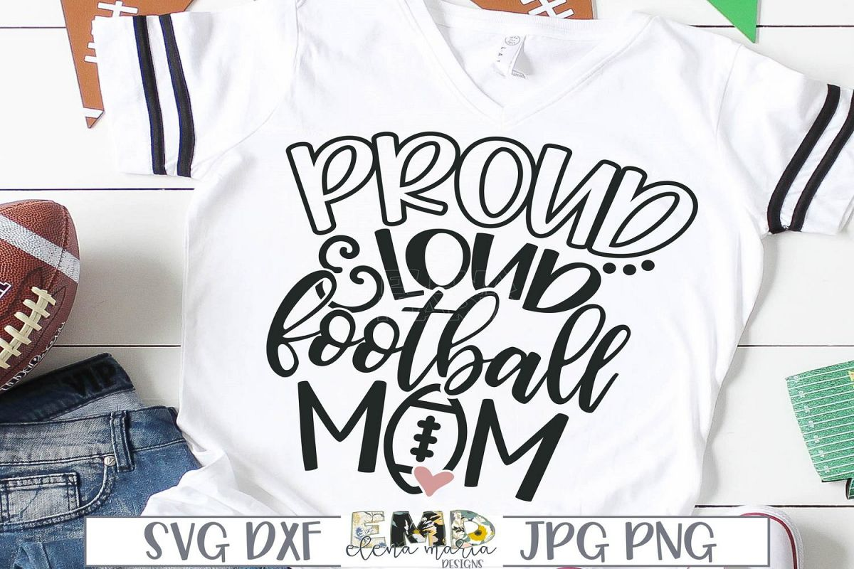 Proud And Loud Football Mom Svg example image 1