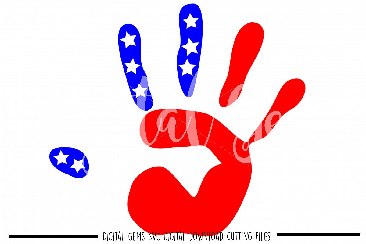 American Flag Hand Print SVG / PNG / EPS / DXF files example image 1