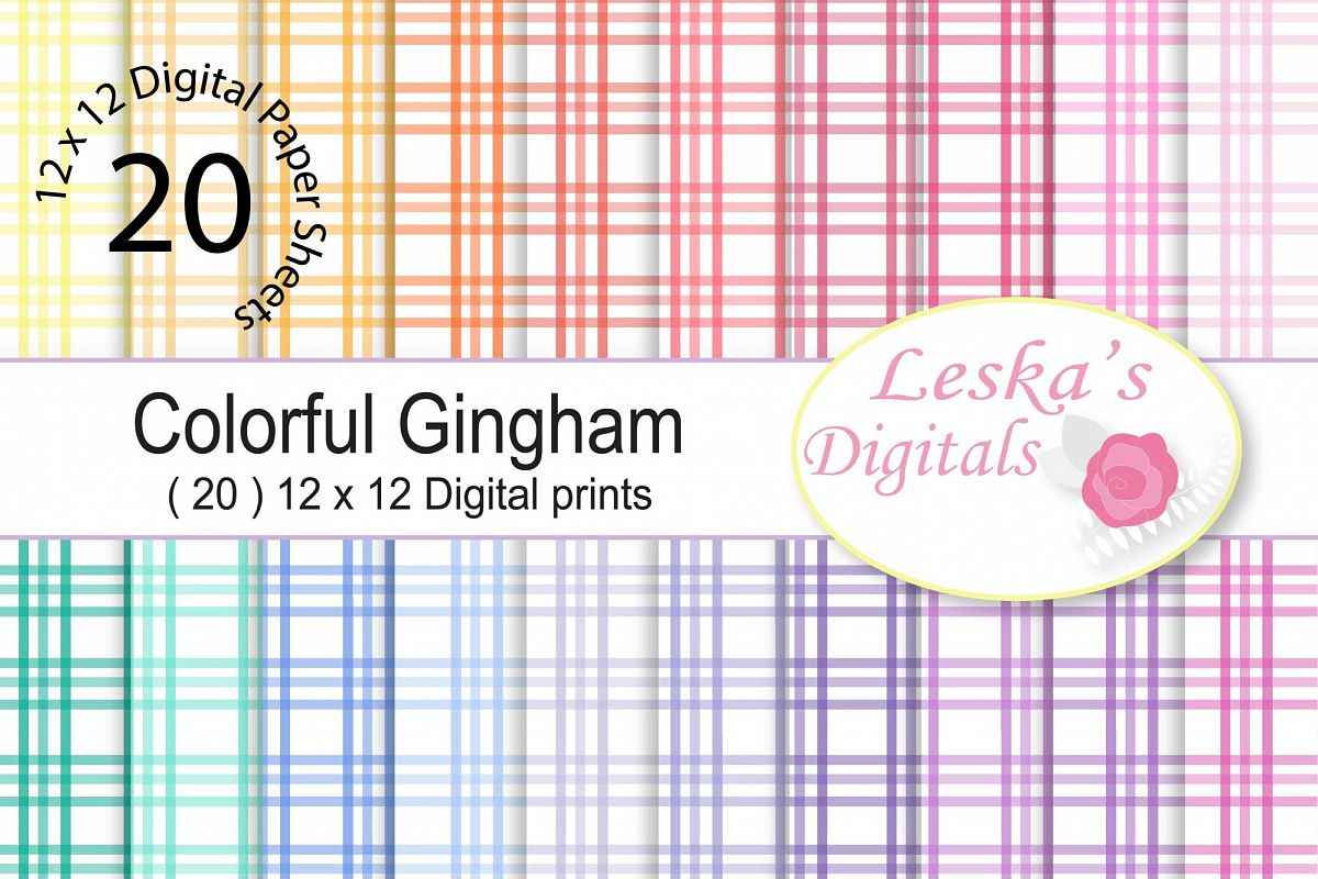 Gingham Digital Paper Pack - Rainbow colors example image 1