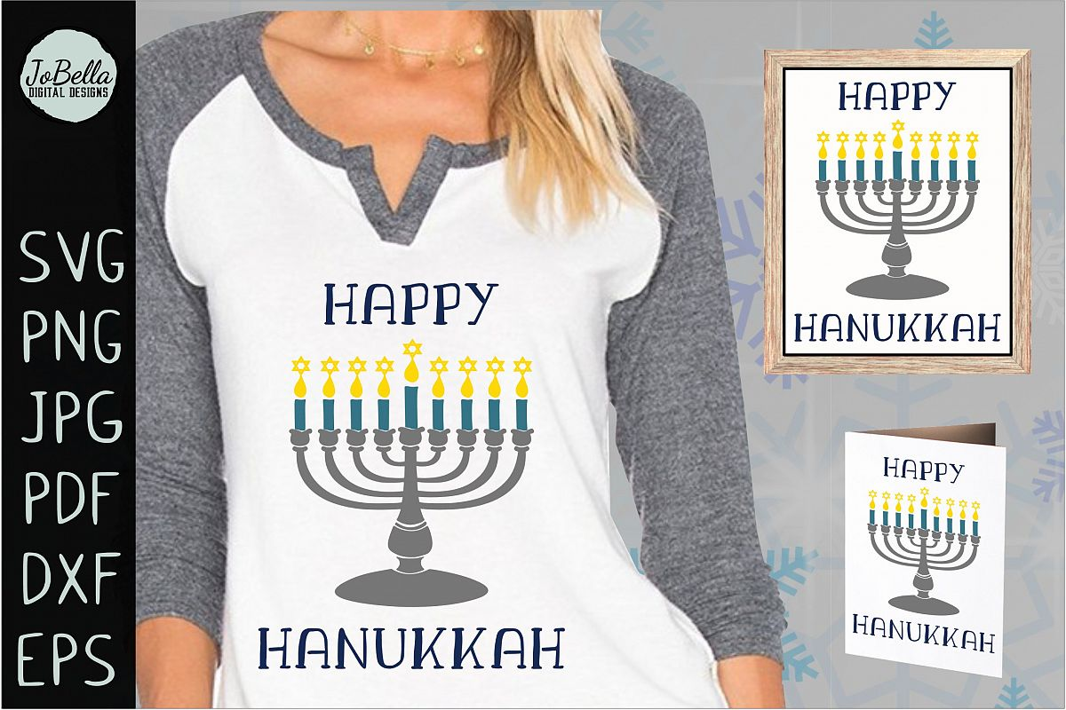 Menorah and Happy Hanukkah SVG, Printable and PNG example image 1