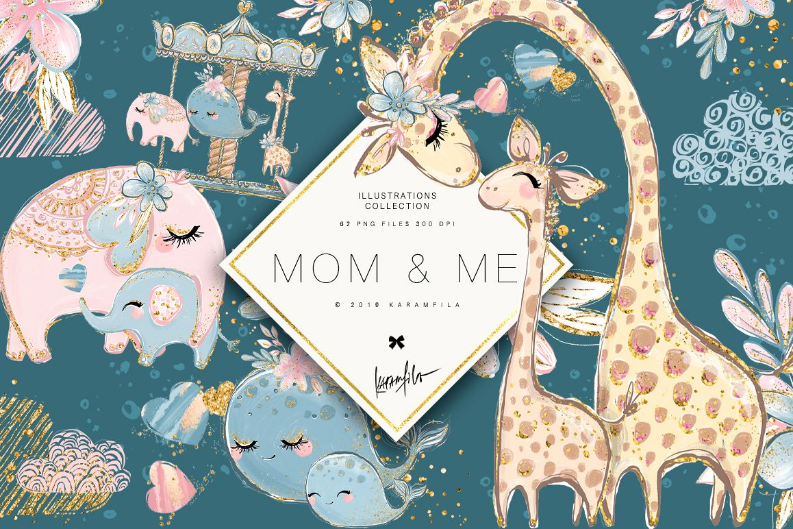 Mother and Baby Animals Clipart example image 1