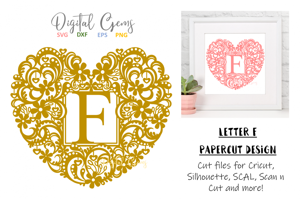 Letter F paper cut design. SVG / DXF / EPS / PNG files example image 1