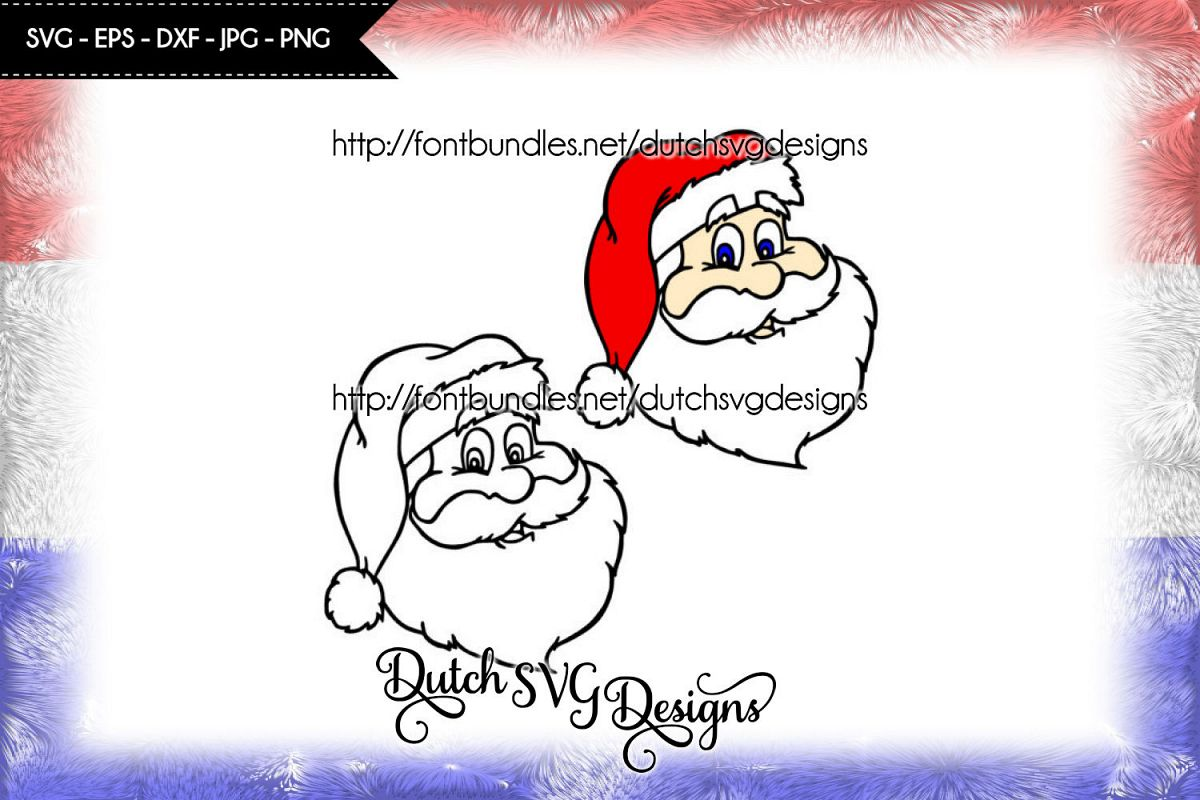 Santa Claus cutting file / printable, in Jpg Png SVG EPS DXF, for Cricut & Silhouette, christmas svg, santa svg, santa claus svg, cut file example image 1