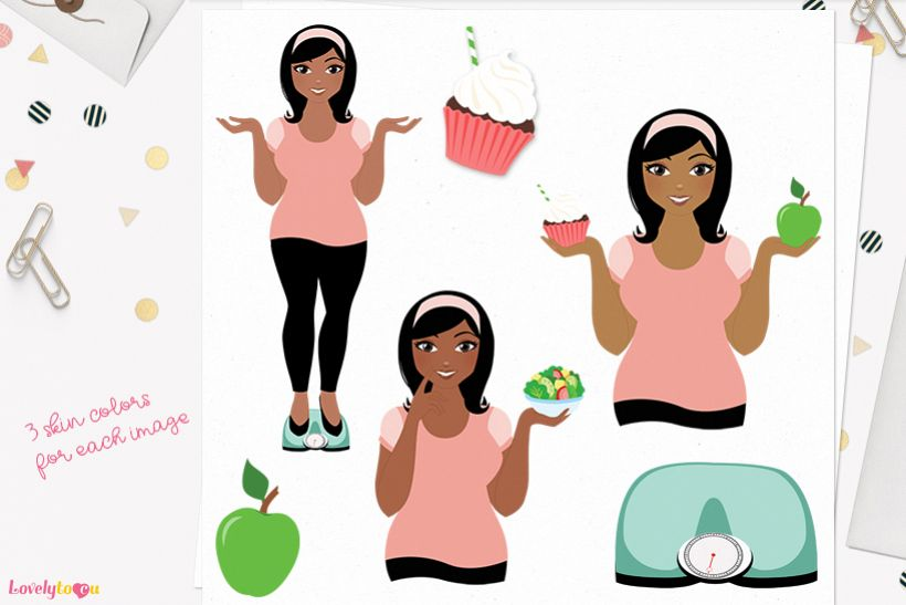 Woman weight loss character clip art L092 Wendy
