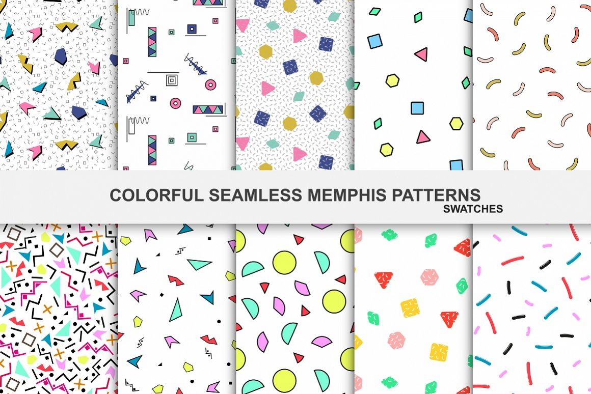 Colorful seamless memphis patterns example image 1