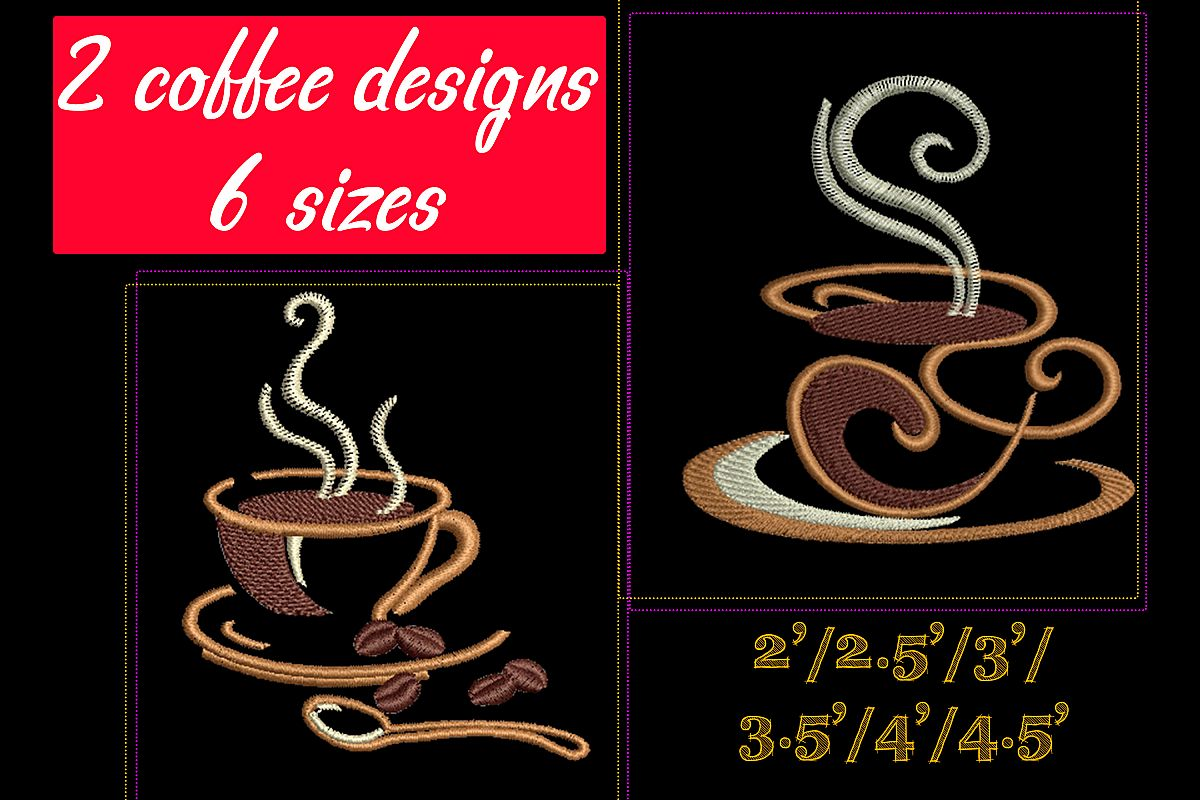 Coffee set - machine embroidery designs. 2 designs, 6 sizes example image 1