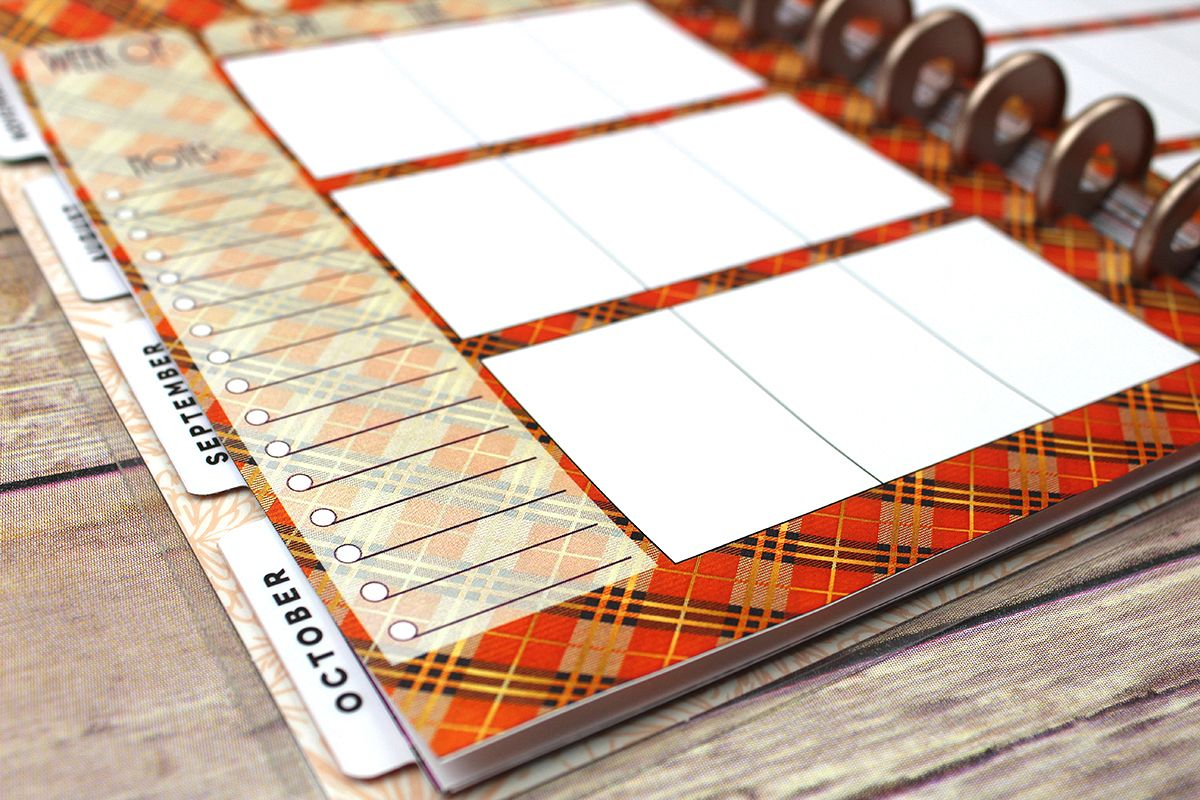 Happy Planner PRINTABLE, Weekly Insert Refill, Fall, Plaid, Woodland, Printable, Planner Printable, 7 x 9.25, Mambi Happy Planner example image 1