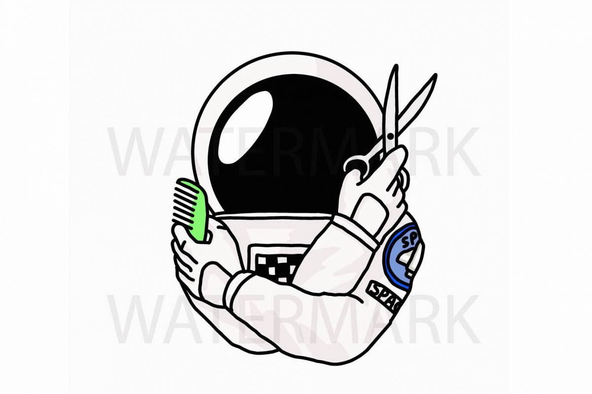Astronaut Barber - 2 version color and outline- SVG/JPG/PNG Hand Drawing example image 1