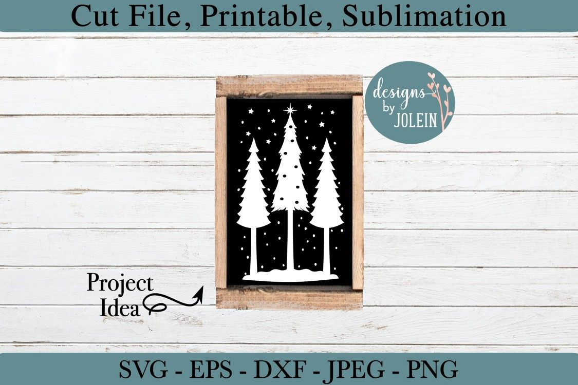 Snowy Christmas Trees SVG, png, eps, DXF, sublimation example image 1