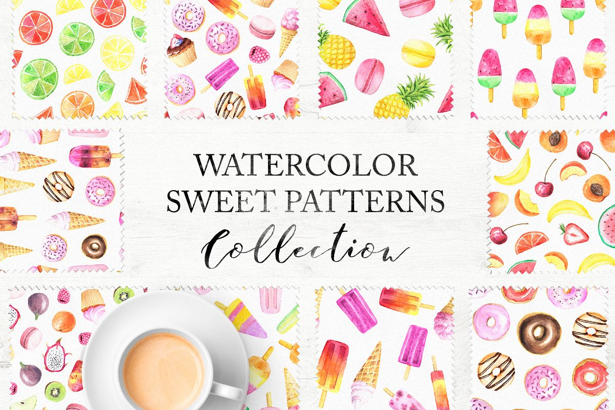 15 Watercolor Sweet Seamless Pattern example image 1