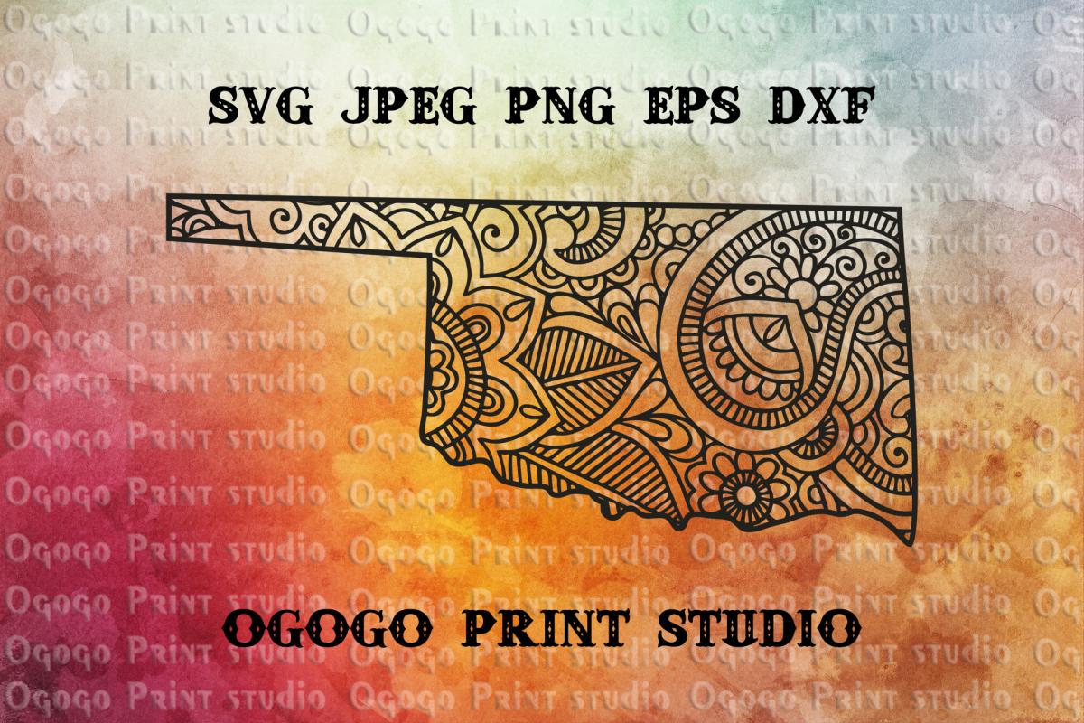 Oklahoma SVG, Map Zentangle SVG, State Svg, Mandala svg example image 1