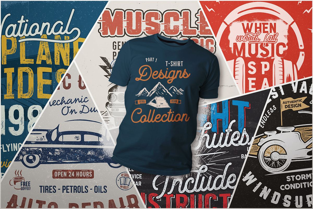 Vintage T Shirt Bundle Retro Svg Designs Collection Part 1