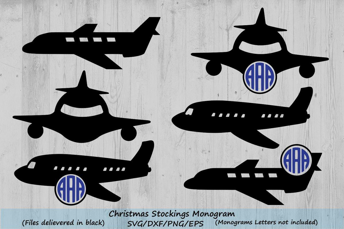 Airplane Svg Monogram Frame Cut Files Plane Silhouette 78157